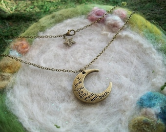 Crescent Moon Necklace Bronze Crescent Moon Charm Necklace Love You to the Moon and Back Romantic Love Sentiment