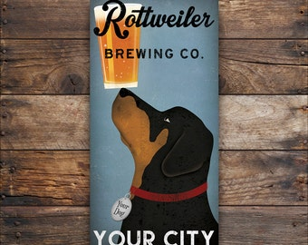CUSTOM Personalized ROTTWEILER Dog BEER Brewing Company Gallery Wrapped Wall Art  Ready-To-Hang Stretched Canvas