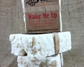 Wake Me Up Small Sea Salt Soap - Peppermint and Eucalyptus Essential Oil Sea Salt Soap - Rustic Hot Process Soap