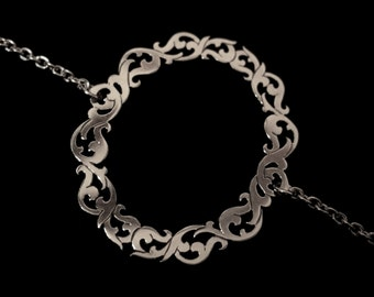 Sterling Silver Circle Bracelet - Dainty Ornate Baroque Picture Frame - MISSING MASTERPIECE