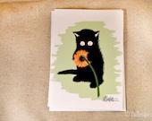 Black Cat with Flower Illustration Greeting Card - Sammy Celebrates Spring