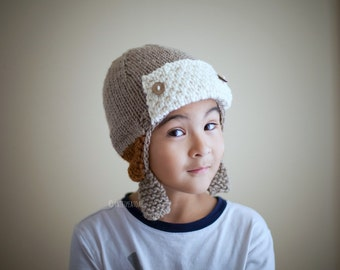 Pilot Hat, Pilot Helmet, Earflap Hat, Winter Hat