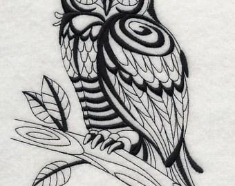SAGE OWL (BLACKWORK) - Machine Embroidered Quilt Blocks(AzEB)