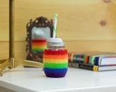 Rainbow Felted wool mason jar cozy set