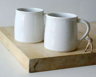 Set of two funnel mugs glazed in brilliant white - hand thrown stoneware pottery