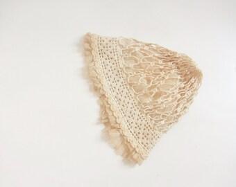 antique bonnet cap . crocheted lace and delicate net mesh . tea dyed hat