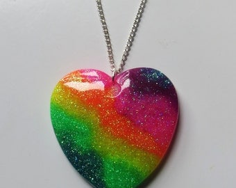 Neon glitter glossy rainbow large heart necklace