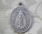Antique Virgin Mary Miraculous Medal Aluminum