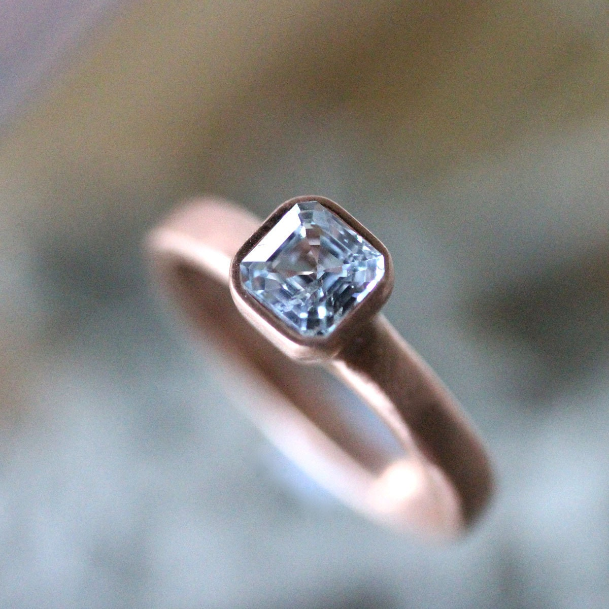 genuine sapphire 14k gold ring gemstone ring asscher cut. Black Bedroom Furniture Sets. Home Design Ideas
