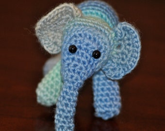 Small Amigurumi Baby Blue Elephant - Hand Made Small Elephant - Cute Handmade Elephant