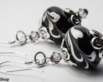 Cookies and Cream Black and White Lampwork Glass and Swarovski Crystal Sterling Silver Earrings