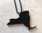 State Necklace - New York Necklace on Black Thin Ball Chain - Black Lasercut Acrylic