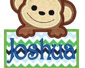 Boy Monkey Machine Embroidery Applique Design