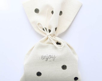 Polka dot Favour Bags - Black Polka Dot, engagement party favours