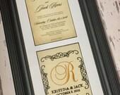 Custom Monogrammed Framed Wedding Invitation Keepsake