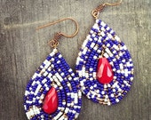 Nautical Navy Ivory Copper and Red Beaded Drop Earrings