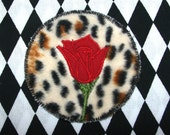 Rose Patch / Rhinestone Leopard Patch / Nudie Suit / Large Patch