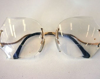 Vintage 1970s Gold Plated Luxottica Rimless Butterfly Frames