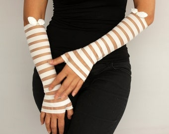 Striped Long Evening Fingerless Gloves Cream Sheer Elastic Tulle Bridal Armwarmers 60's Retro Look Romantic Wedding Party Women Fashion Wear