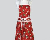 Chef Apron - Adjustable Neck Christmas Winter Holiday Hot Chocolate Cute Womens Chef Apron also in Plus Size