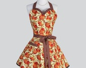 Sweetheart Retro Apron - Fall Floral Orange and Brown Vintage Style Full Kitchen Apron