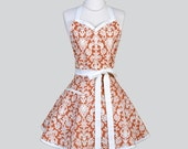 Sweetheart Retro Womans Apron , Classic Elegant Kitchen Cooking Apron in Spice and Cream Damask Apron Full Flirty Sexy Womens Apron