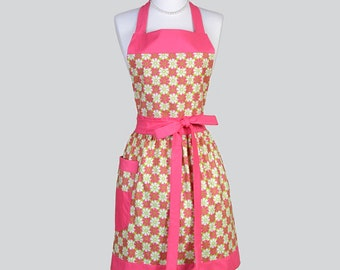 Classic Bib Apron . Heart Shaped Pink Flowers on Lime Woman Retro Chef Vintage Kitchen Apron Ideal to Personalize or Monogram
