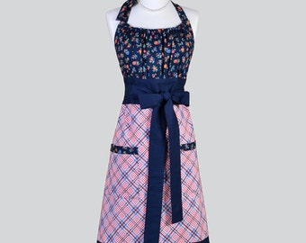 Cute Kitsch Retro Apron / Full Kitchen Womens Apron in Vintage Floral Bodice in Navy Colored Flowers Handmade Womans Cooking Chef Apron