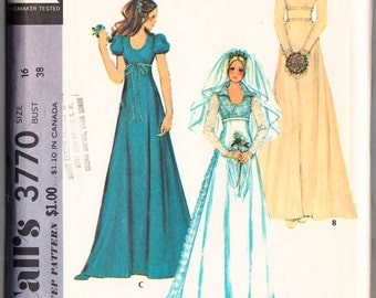 Vintage 1973 McCall's 3770 Sewing Pattern Misses' and Junior's Bride and Bridemaid Dress Size 16 Bust 38