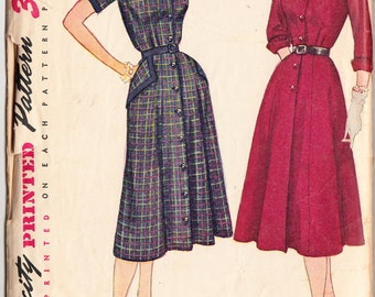 Vintage 1951 Simplicity 3707 Sewing Pattern Misses' One-Piece Dress in HalfSize Size 16-1/2 Bust 35