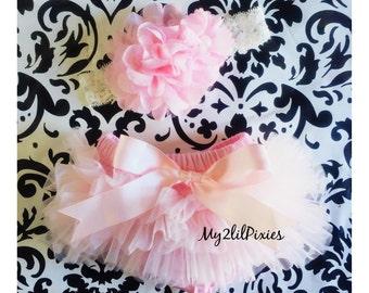 Baby Girl BLOOMER and HEADBAND SET- Light Pink Ruffle Bum Baby Bloomer with Satin Bow, Baby girl Headband ,Diaper Cover, newborn bloomers