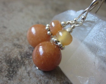 Apricot Orange Earrings, 925 Sterling Silver, Mixed Gemstone Dangles, Peach Aventurine, Banded Agate, Bright Colored, Sacral Chakra Stone