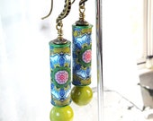 Yellow Green Paper Tube Beads with Lemon Jade Bead Dangle Antique Bronze Hook Earrings