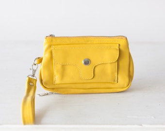 Wristlet wallet Yellow leather, womens phone wallet with strap phone case zipper wallet  - Thalia Wallet