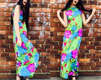 Vintage Floral 70's High Neck Maxi Dress