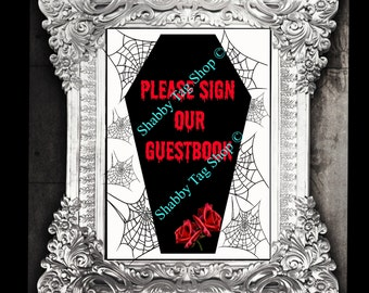 Gothic Wedding Coffin sign our guestbook in 8x10  Digital download