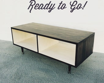 FREE SHIPPING Ready to Ship Media Table Coffee Table Mid Century Modern Chocolate and White TV Stand Entertainment Cabinet