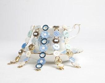 Cute Blue Button Bracelet