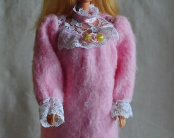 Barbie soft fleece nightgown for Bedtime Barbie 1993 soft body doll, sleepwear