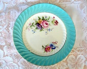 Vintage Aynsley Bone China Luncheon Plate,Swirl,Turquoise,Gold Trims,1930s,Floral Spray on White,Dining Serving,Replacement,Made in England