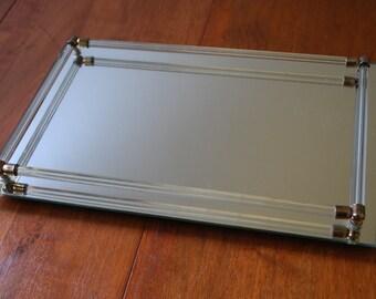 Mid Century Rectangular Mirrored Vanity Tray - Art Deco - Modern