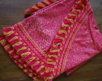 "vintage red brocade tablecloth with redand gold fringe - Round - 65"" x 65"" - Retro - Mediterranean - Swank"