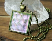 Light pink and peak-a-boo green Glass Square Necklace, Square Glass Pendant, Dichroic Jewelry, Dichroic Pendant, Fused Glass Jewelry
