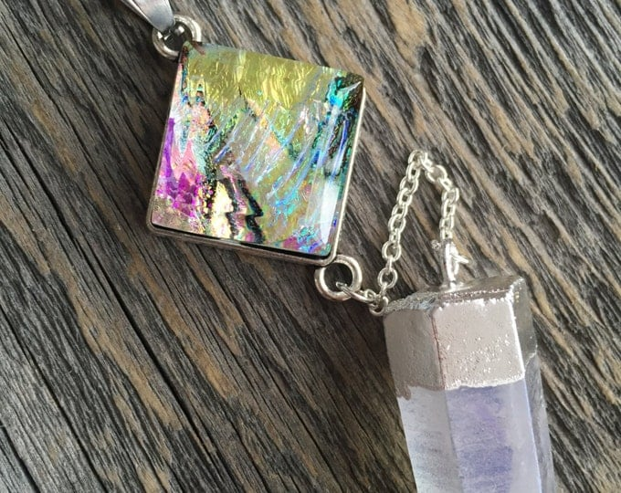 gift for her, angel quartz, handmade jewelry, aura necklace, raw crystal jewelry, gemstone jewelry, fused glass, glass pendant