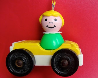 Vintage Little People Custom Christmas Ornament - Little Girl in Yellow Car