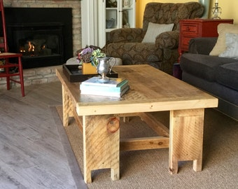 NEW! Seabiscuit Reclaimed Wood - Limited Wood Supply - Wood Coffee Table - WIDE SIZE - Handmade - Shabby White - 48 long x 30 wide x 18 tall