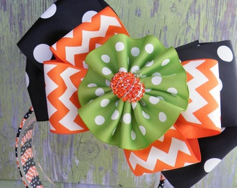 6 in 1 Bow with matching headband! Halloween Bow, Pumpkin Bow, Fall Bow, Thanksgiving Bow, Witch Bow, Orange Bow, Black Bow, Polka Dot Bow