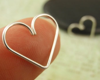 1 - 15mm Heart Piercing - Argentium Silver, 14kt Rose Gold Filled, or 14kt Yellow Gold Filled - YOU PICK Metal and Gauge