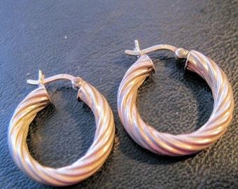"BIGGEST SALE of the Year Sterling Silver Hollow Hoop Earrings Pierced 13/16"" Twisted Rope Pattern Vintage Jewelry"