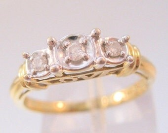 BIGGEST SALE of the Year Vintage 10k YG .15ct 3 Diamond Love Engagement Promise Ring Size 7 Fine Jewelry Jewellery